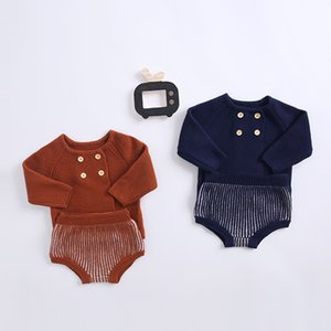 FOCUSNORM Winter Infant Baby Girls Boys Clothes Sets Solid Knit Long Sleeve Sweater Tops Shorts 2pcs Y1113