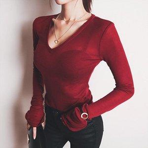2020 Sexy Thin T shirt See Through Tops Slim High Quality Plain T Shirt Women Cotton Elastic Basic Female Casual V Neck