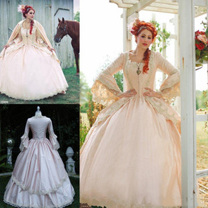 Vintage Victorian Gothic Wedding Dresses Pink Appliques Lace Beads Long Sleeve Country Wedding Dress Plus Size Corset Medieval Bridal Gowns