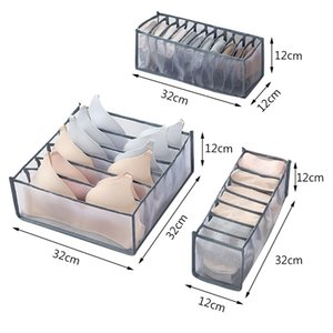 BRF Boîtes de rangement sous-vêtements Vêtements de vêtements Drawer Nylon Diviseur Diviseur Organisateur pliable 6/7/11 grilles Organisateur de tiroirs séparés