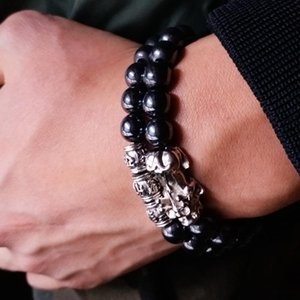 Feng Shui Magnetic Hematite Stretch Beads Bracelet Men Women Unisex Wristband Pixiu Wealth and Good Luck Pi Yao Black Bracelet