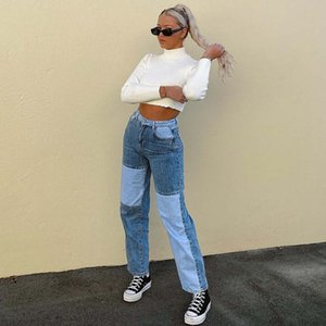 20ss New Womens Straight Pants Jeans Fashion Women High Waist Denim Trousers Street Hip Hop Color Stitching Casual Jeans