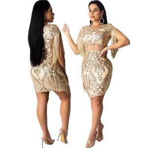 Sequins Tassel Sexy Womens Vestidos Skinny O-Neck comprimento do joelho Hot Sell cintura alta Verão Mulheres Vestido Casual