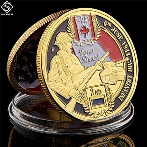Oro Giorno D Normandy Juno Beach Forze armate canadesi Divisione 2rd placcato 1 oncia Commemorazione collezione Coin Collezionismo