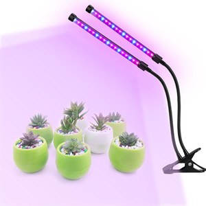 ZX-MINI-30W Grow Light for Indoor Plants 2 Head Divided Adjustable Goose Neck Clip-On Desk 40LED Black