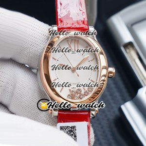 New Happy Sport Ovale Happy Diamonds 275362 ETA 2824 Femmes Montre Automatique cadran blanc or rose en cuir rouge Mesdames Montres HWRX Hello_watch.