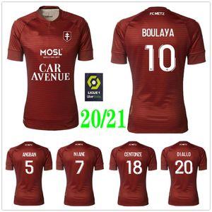 2020 2021 FC METZ Football Maillots DIALLO MAIGA NGUETTE Centonze VAGNER NIANE FOFANA Custom Home Red 20 21 Chemises Uniformes METZ Football
