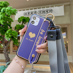 Love Heart Wristband Phone Case for Samsung Note20 S20 Ultra S20fe A41 A51 A71 A81 A91 Crossbody Shoulder Strap Lanyard Soft Cover