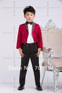 Personality Elegant Fashion Rose Red Boy's Wedding Suit Boy's Cool Tuxedo  Boy's 4-piece Set Suit 11 w351#
