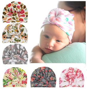 6 Styles Cute Infant Toddler Donut Knot Indian Turban cap Kids Headbands Caps Baby floral Hat soft Cotton Hairband Hats