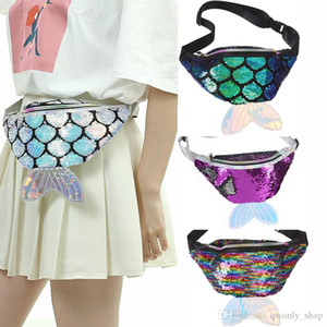 Mermaid Waist Bags Sequin Belt Fanny Pack Chest Bags Girl Cosmetic Bags Crossbody Purse Party Favor 5 Colors