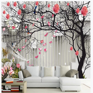 Photo 3d wallpapers 3D tree pattern rose flower stereo TV sofa background wall 3d stereoscopic wallpaper
