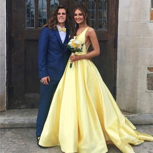 Robes de bal satin Satin de haute qualité Sexy 2021 V-Col V-Line Robes de soirée abordables avec robe de soirée de soirée plongeante