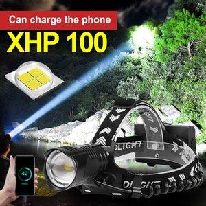 Светодиодная фара Super XHP100 18650 аккумуляторная фальшивка XHP90.2 головной факел головной лампы факел XHP70.2 Рыболовная лампа факел