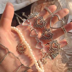 Colar Gargantilha Coração Cadeia de Collar Mulheres Vintage Goth Cruz Colares do Aesthetic Halloween Jewelry Valentines presente Party Girl