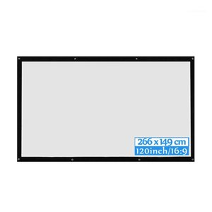 16:9 HD 3D HD Wall Mounted Projection Screen 60 72 84 100 120 inch Projector Screen Fiber Canvas Curtain for Home Theater1