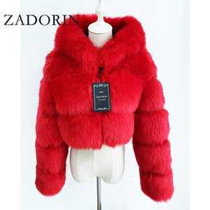 ZADORIN High Quality Furry Cropped Faux Fur Coats and Jackets Women Fluffy Top Coat with Hooded Winter Fur Jacket manteau femme 201029