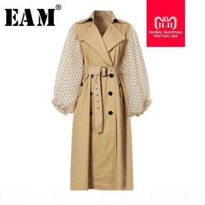 [EAM] 2018 New Autumn Winter Lapel Long Puff Sleeve Sashes Dot Mesh Stitching Loose Long Windbreaker Women Coat Fashion JH394 Y18110804