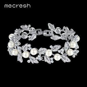 Mecresh Simulated Pearl Bridal Bracelets for Women Silver Color Crystal Friendship Bracelets & Bangles Wedding Jewelry SL089
