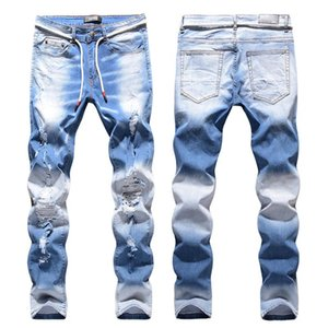 High Street Fashion Light Blue Hip Hop Brand Jeans Mustache effet genou Holes Stretch Jeans Skinny Slim Fit Denim Pantalons Hommes Hommes d'âge