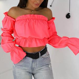 2020 Candy Color Off Shoulder Crop Tops women Summer dot print lantern sleeve shirts Lady Sexy Slash neck beach blouse