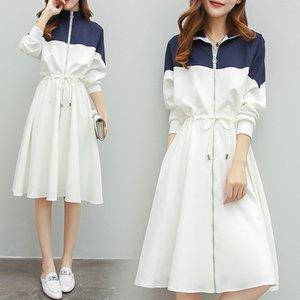 bGF4y vêtements neufs occasionnels printemps 2020 sport mi-longueur lâche taille de SL féminine de femmes habillées coutures blanches Xiu Xiu zhang zhang Qun Qun longue