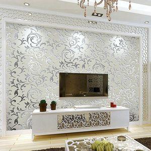 Gris dorado 3d damasco papel tapiz en relieve victoriano floral lujoso loquat hoja papel de pared sala de estar dormitorio revestimientos de pared Decoración1