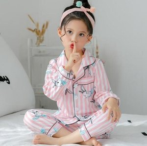 Rabbit long-sleeved T-Shirts+Trousers children's pajamas set cardigan sleepwear girls home clothes kids cotton nightwear 2-12 y