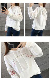 Para mujer camisetas de los hoodies blanco roto harajuku florales bordados kawaii largo manga floja jerséis adolescentes YUPINCIAGA informal