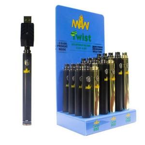24Pcs / Set Twist MAW batteria inferiore VV Preriscaldare 650mAh 900mAh Modalità 1100mAh con la scatola di 510 Discussione kit serbatoio cartuccia Slim Pen Vape
