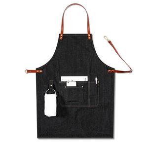 Casual Barista Adjustable Leather Strap Removable Chef Multi Pocket Baker Denim Uniform Work BBQ Bib Apron Bartender 201007