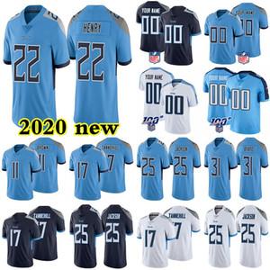 2020 ÖzelTennesseeTitanlarFutbol Jersey 17 Ryan Tannehill 22 Derrick Henry 11 AJ Kahverengi istenilen sayıda Herhangi İsim Formalar