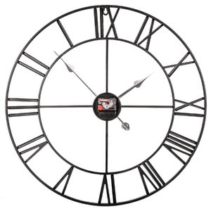60cm Retro Iron Roman Numerals Mute Wall Clock Battery Operated Wall Clock for Living Room Decor - Black