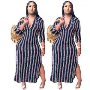 Tasarımcı Çizgili V Yaka Gömlek Modelleri Moda Sonbahar Uzun Kollu Bölünmüş Kadınlar Giyim Artı boyutu Elbise Womens