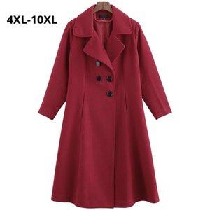 Misturas de lã feminina Plus size 10xl 9xl 8xl 4xl outono inverno jaqueta de lã magro feminino longo Dupla casaco breasted casaco senhoras casacos