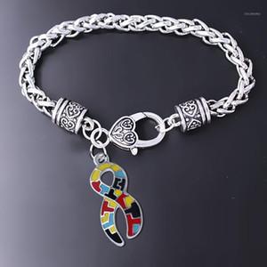 Requintado Esmalte Enamel Artesanato Metal Autism Puzzle Jigsaw Ribbon Pingente Pulseira Cuidado Autista Cancro Paciente Jóias Pulseira Dropship1