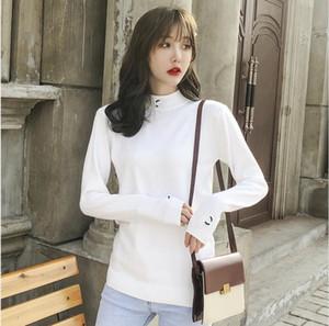 2020 Yeni Sonbahar / Kış kadın Uzun Kollu Örme Basit Stil Moda Ince Sıkı Örgü Kazak Ücretsiz Kargo