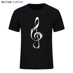 Bitter Coffee Clef Music Notes Hip Hop короткого рукав Мода Горячие Дизайн Европейского размера Конструкторы T Shirt Мужчины Графический Hoodie