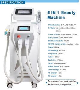 Duplo Tela 4 IN1 multi-função OPT IPL laser equipamentos de remoção de terapia máquina tatuagem vascular terapia pigmento acne com q comutado
