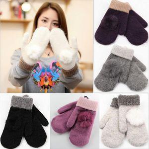 Winter Warm New Fashion Womens Warm Winter Snow Thicken Wool Knitted Gloves Mittens Soft Ladies Girls Double Thickening Glove