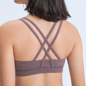 Double Cross Strap Gathered Up Support Sports Bra Solid Color Training Fitness Yoga Bra Underwear Running Workout Gym Clothes Women