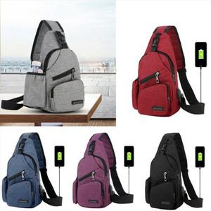 NoEnName nulo Hombres Mujeres hombro USB bolso de la honda del pecho del paquete del bolso al aire libre recorrido del deporte de carga Bolsas Crossbody bolso