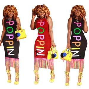 Mulheres Poppin Carta Vestido Verão Designer Tanque Bodycon Vestidos Arco-íris Poppin Imprimir Uma Saia-Peça Sleeveless Long Beach Dress C