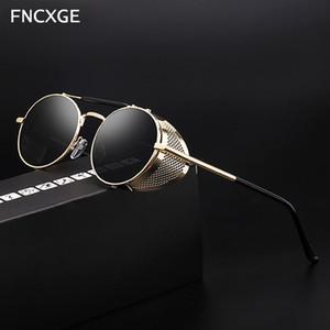 2020 Мода Круглый Мужчины стимпанк Солнцезащитные очки Женщины ретро Урожай классический Солнцезащитные очки Side Shield Мужской Goggle металлический каркас Gothic