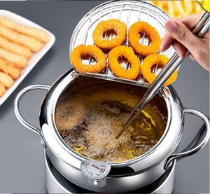 Fritadeira Pan Thermometre Tempura Fryer Pan Mini aço inoxidável Stock Pots Termômetro Oil Drip rack Cozinhar Ferramentas Utensílio BWD1247