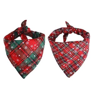 christmas pet scarf bandana snowflake plaid triangle bows pet accessories for cat and dog shipping a03 nOm0u