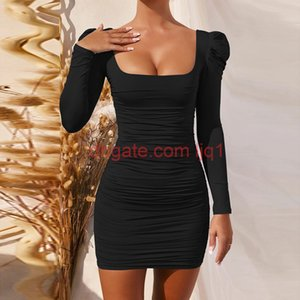 2020100928 Square Collar Club Bodycon Party Dress Autumn Basic Puff Sleeve