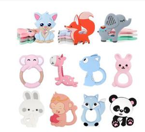 BPA Free Animal Silicone Teethers 1PC Baby Teething Necklace Toys Fox panda elephant Food Grade Silicone Cartoon Nursing Tiny Rod