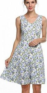 SimpleFun Femmes Casual moulant col en V et floral manches Robes robe en ligne Robes chemise nAU7 #