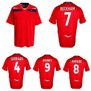 2008 Inglaterra Retro Fútbol Jersey Beckham 100th Cap Lampard Rooney Terry Owen Gerrard Vintage Classic Football Shirt